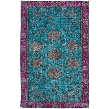 Apadana Fine Rugs Revival Hand-Knotted Blue/Purple/Gray Area Rug