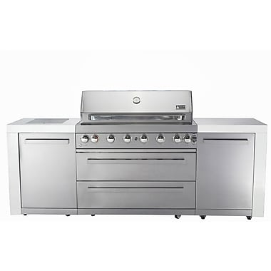 Mont Alpi 44'' Island 8-Burner Built-In Convertible Gas Grill