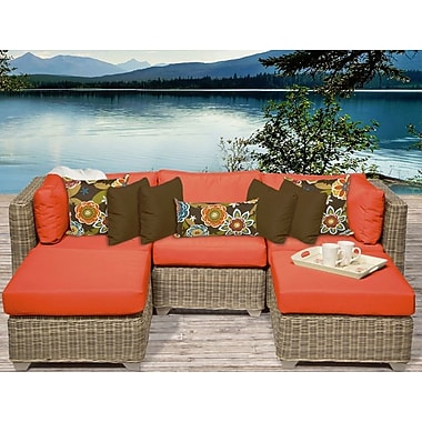 TK Classics Cape Cod 5 Piece Sectional Seating Group w/ Cushion; Tangerine