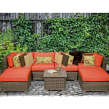TK Classics Cape Cod 7 Piece Sectional Seating Group w/ Cushion; Tangerine