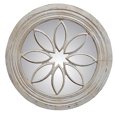 Hickory Manor House Petal Circle Mirror; Old World White