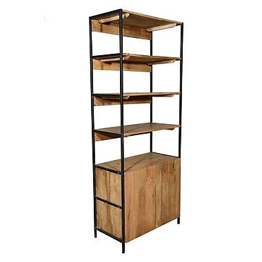 Home and Garden Direct Open Plus Closed Storage Unit Standard Bookcase; 84'' H x 33'' W x 17'' D