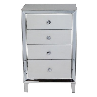 Heather Ann Avery 4 Drawer Cabinet; Antique White