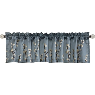 Lush Decor Cocoa Flower 84'' Curtain Valance; Blue / Brown