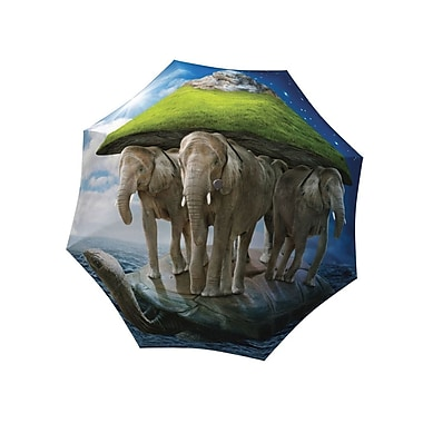 La Bella Umbrella Aluminum Fiberglass Automatic Open & Close, Elephants Design
