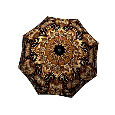 La Bella Umbrella All Fiberglass Stick/Straight Umbrella, Gold Floral Ornament Design