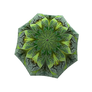 La Bella Umbrella All Fiberglass Stick/Straight Umbrella, Green Flower Design