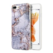 Insten Marble Stone Pattern Texture Visual TPU Rubber Case For Apple iPhone 7 Plus,  Gray / Gold