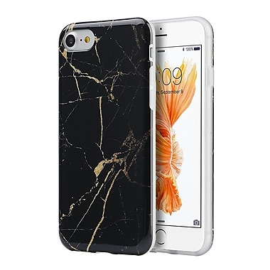 Insten Marble Stone Pattern Texture Visual TPU Rubber Case For Apple iPhone 7/ 8, Black / Gold (2278486)