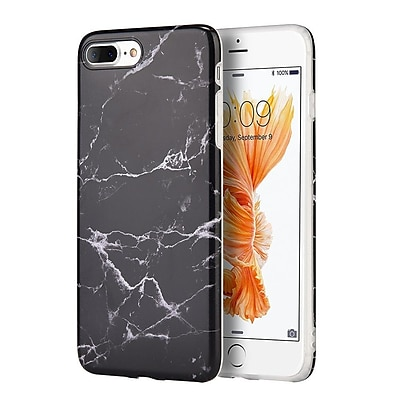 Insten Marble Stone Pattern Texture Visual TPU Rubber Case For Apple iPhone 7 Plus/ 8 Plus, Black