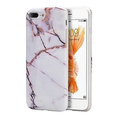 Insten Marble Stone Pattern Texture Visual TPU Rubber Case For Apple iPhone 7 Plus/ 8 Plus, White / Gold (2278495)