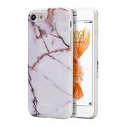 Insten Marble Stone Pattern Texture Visual TPU Rubber Case For Apple iPhone 7, White / Gold
