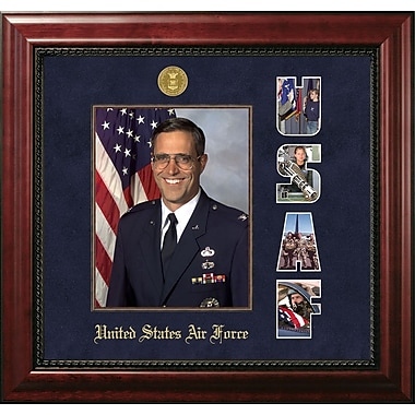 PATF Air Force Portrait Executive Picture Frame; Gold/Mahogany