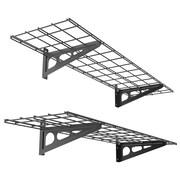 FLEXIMOUNTS Garage Storage Rack Wall Shelf (Set of 2); Black