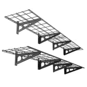 FLEXIMOUNTS Garage Storage Rack Wall Shelf (Set of 2); Black