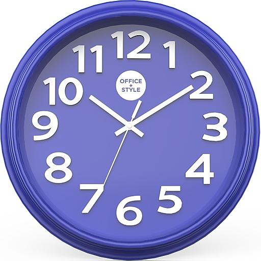 """Office + Style 13"""" Silent Quartz Color Wall Clock with Anti-Scratch Cover OS-1CLOCK- Blue"""