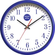 "Office + Style 13"" Silent Quartz Color Wall Clock with Anti-Scratch Cover OS-2CLOCK- Blue"