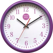 "Office + Style 13"" Silent Quartz Color Wall Clock with Anti-Scratch Cover OS-2CLOCK- Purple"