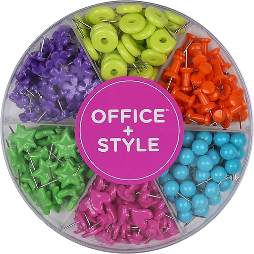 Office + Style Colored Shape Push Pins, 280 pcs