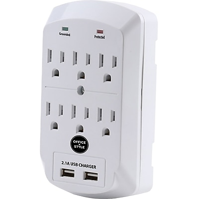 Office + Style wall surge protector, White