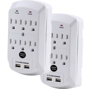 Office + Style wall surge protector, White, 2 pack