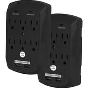 Office + Style wall surge protector - Black, 2 pack