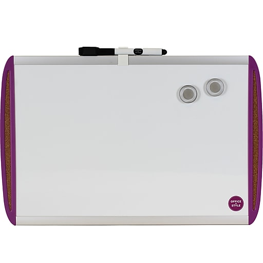 Office + Style 11x17 Whiteboard with Tack Board- Purple