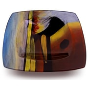 JasmineArtGlass Square Platter w/ Glass Leg