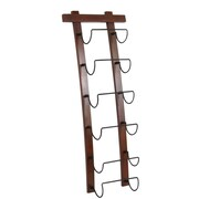 Homestyle Collection Curved Wood and Metal 6 Bottle Wall Mounted Wine Bottle Rack
