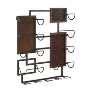Homestyle Collection Metal and Wood 5 Glass 8 Bottle Wall Mounted Wine Bottle Rack