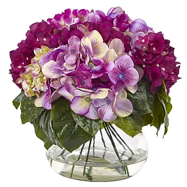 Nearly Natural Hydrangea Arrangement in Vase