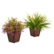 Nearly Natural Blair 2 Piece Assorted Grass in Planter Set