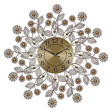 Three Star Elegant Bejeweled Flower 29'' Wall Clock