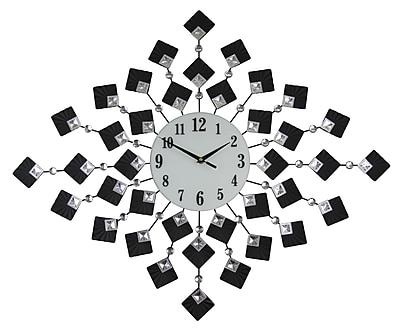 Three Star Elegant Bejeweled Metal Diamond Wall Clock