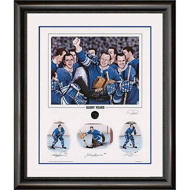 Heritage Hockey – Reproduction encadrée Glory Years, édition limitée, signée par Bobby Baun, Johnny Bower et Ron Ellis (20023)