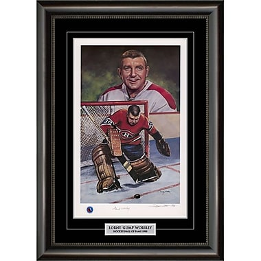 Heritage Hockey – Reproduction encadrée édition limitée signée par Gump Worsley des Canadiens de Montréal (20086)
