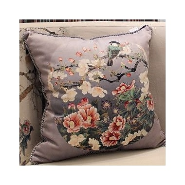 G Home Collection Bird Round Printing Throw Pillow; Gray Purple