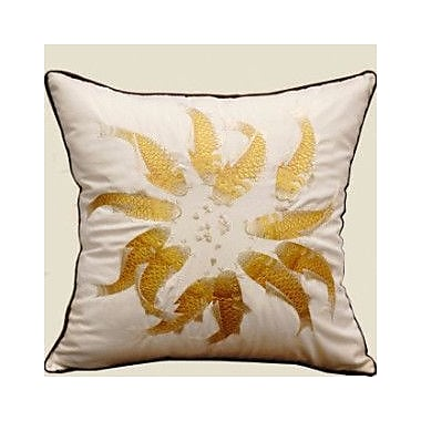 G Home Collection Fish Embroidered Throw Pillow; Yellow/White