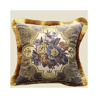 G Home Collection Flower Embellished Throw Pillow; Gray/Blue/Gold
