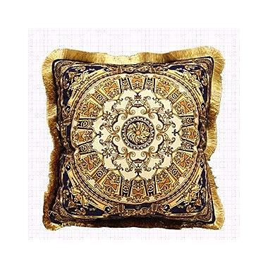 G Home Collection Flower Embellished Throw Pillow; Blue Gold