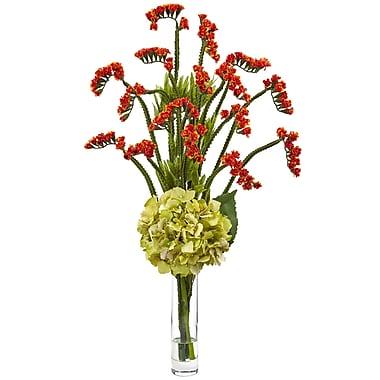 Nearly Natural Heather Hydrangea and Statice Bud Arrangement in Vase; Green/Orange