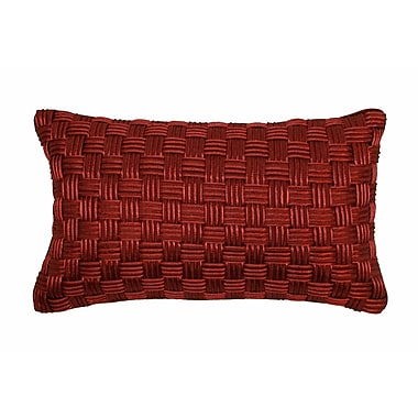 Edie Inc. Basket Weave Lumbar Pillow; Brick