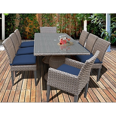 TK Classics Oasis 9 Piece Dining Set w/ Cushions; Navy