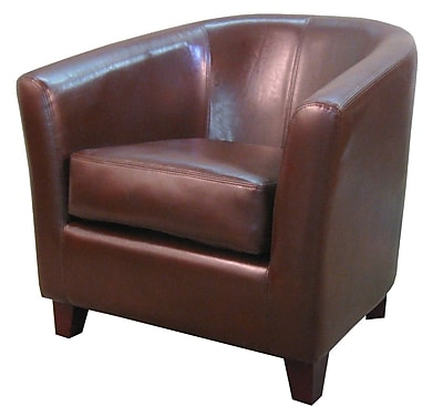 Orren Ellis Teesha Solid Barrel Chair; Saddle Brown