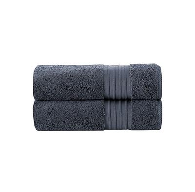 Alcott Hill 100pct Turkish Cotton Bath Towel (Set of 2); Anthracite