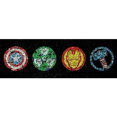 iCanvas 'Avenger Badges' by Marvel Comics Graphic Art on Wrapped Canvas; 12'' H x 36'' W x 0.75'' D