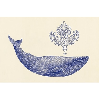 Varick Gallery Damask Whale #1 Graphic Art on Wrapped Canvas; 18'' H x 26'' W x 1.5'' D