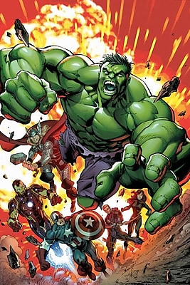 iCanvas 'Marvel Avengers' by Marvel Comics Graphic Art on Wrapped Canvas; 60'' H x 40'' W x 1.5'' D
