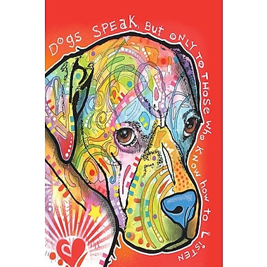 East Urban Home Dogs Speak Graphic Art on Wrapped Canvas; 12'' H x 8'' W x 0.75'' D