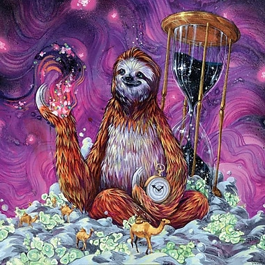 Varick Gallery Time Master Sloth Art Graphic Art on Wrapped Canvas; 26'' H x 26'' W x 0.75'' D
